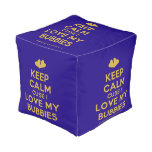 [Two hearts] keep calm cuse i love my bubbies  Cube Pouf