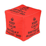 [Crown] keep calm my birthday august 3rd  Cube Pouf