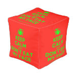 [Cutlery and plate] keep calm and don't eat my face  Cube Pouf