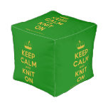 [Knitting crown] keep calm and knit on  Cube Pouf