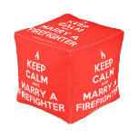 [Campfire] keep calm and marry a firefighter  Cube Pouf