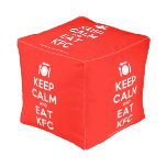 [Cutlery and plate] keep calm and eat kfc  Cube Pouf