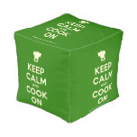 [Chef hat] keep calm and cook on  Cube Pouf
