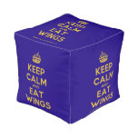 [Crown] keep calm and eat wings  Cube Pouf