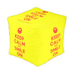 [Smile] keep calm and smile on  Cube Pouf