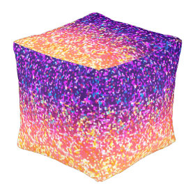Cube Pouf Glitter Graphic