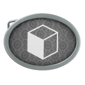 Cube Sideviews Pictogram Oval Belt Buckles