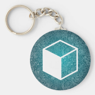 Cube Sideviews Pictogram Basic Round Button Keychain