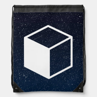 Cube Sideviews Pictogram Drawstring Backpack