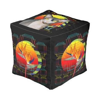 Cube | Sphynx Cat Ninja Bird of Paradise Flower Cube Pouf