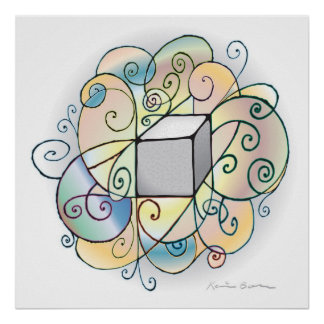 Cube Spiral Vector Path Traces Print