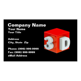 Cube w/ 3D (Red on Black BG) Business Card