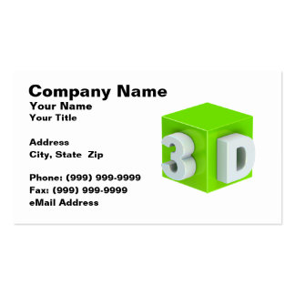 Cube w/ 3D Text (Lime Green on White BG) Business Card