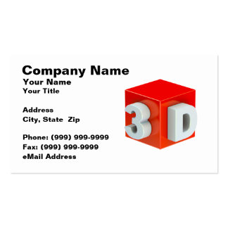 Cube w/ 3D Text (Red on White BG) Business Card