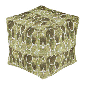 Cubed Pouf for Home-Soft Earth Rock Pattern