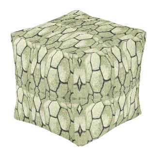 Cubed Pouf for Home-Soft Rock Pattern Green/White