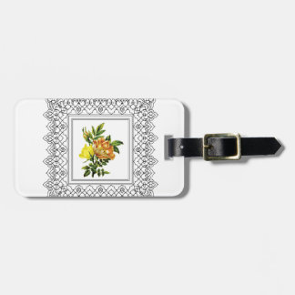 cubed yellow flowers luggage tag