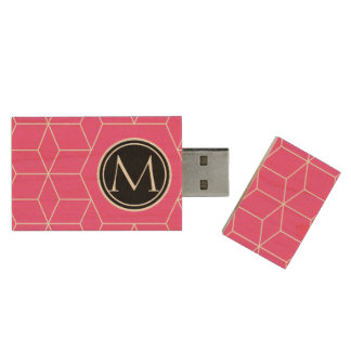 Cubes and Monogram Brilliant Rose Wood Flash Drive