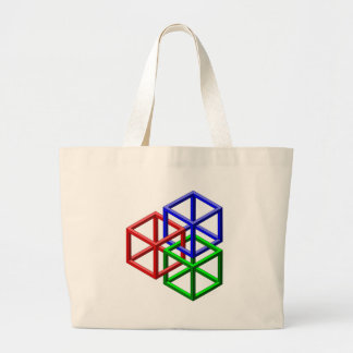 Cubes Impossible Geometry Optical Illusion Canvas Bags