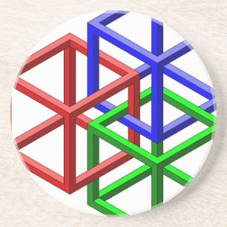 Cubes Impossible Geometry Optical Illusion Beverage Coasters