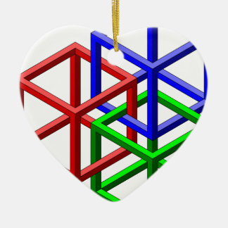 Cubes Impossible Geometry Optical Illusion Christmas Tree Ornaments