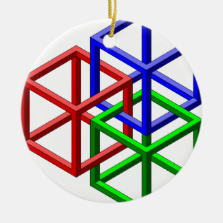 Cubes Impossible Geometry Optical Illusion Christmas Tree Ornament