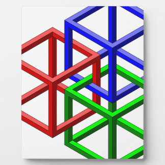 Cubes Impossible Geometry Optical Illusion Photo Plaque