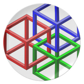 Cubes Impossible Geometry Optical Illusion Dinner Plates