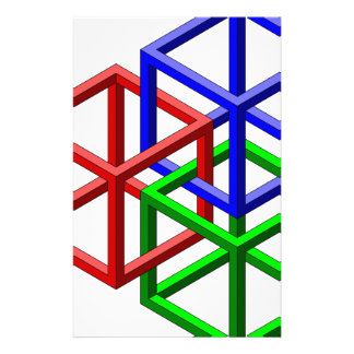 Cubes Impossible Geometry Optical Illusion Customized Stationery