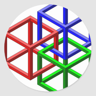 Cubes Impossible Geometry Optical Illusion Round Stickers
