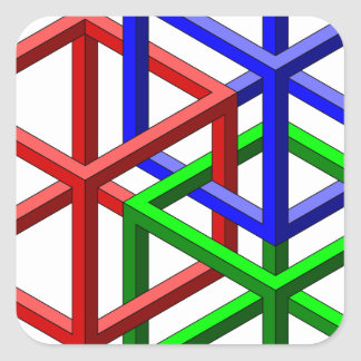 Cubes Impossible Geometry Optical Illusion Square Stickers