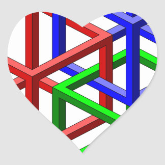 Cubes Impossible Geometry Optical Illusion Heart Sticker