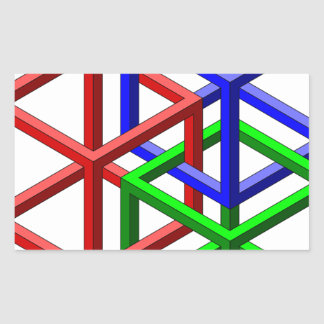 Cubes Impossible Geometry Optical Illusion Rectangle Sticker