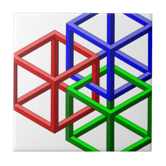 Cubes Impossible Geometry Optical Illusion Ceramic Tile