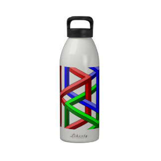 Cubes Impossible Geometry Optical Illusion Reusable Water Bottle