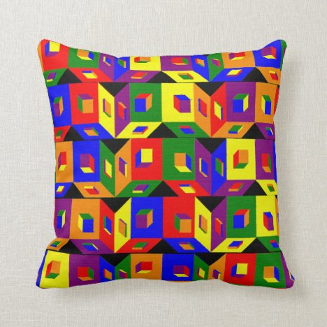 Cubes of Color Throw Pillow