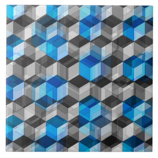 Cubes of Gray And Blue Large Square Tile