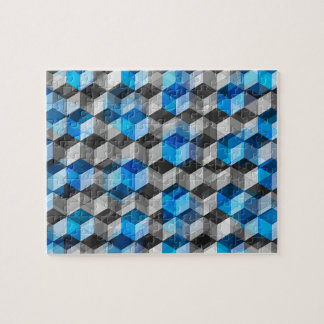 Cubes of Gray And Blue Jigsaw Puzzles