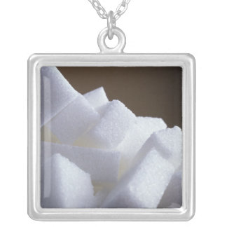 Cubes of white sugar For use in USA only.) Square Pendant Necklace