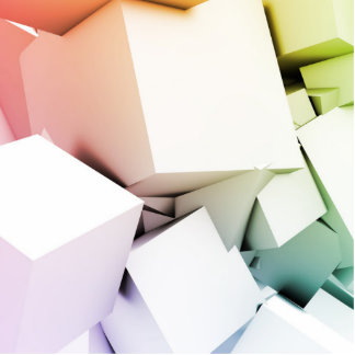 Cubes Square Background in 3d as a Abstract Statuette