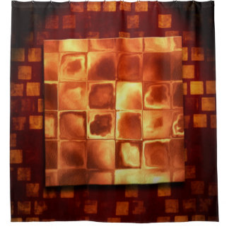Cubic Bronze Shower Curtain