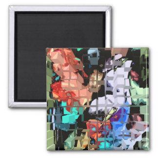 Cubic design of Bird 2 Inch Square Magnet