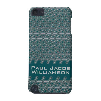 """Cubic steel """"name"""" deep teal patterned ipod case"""