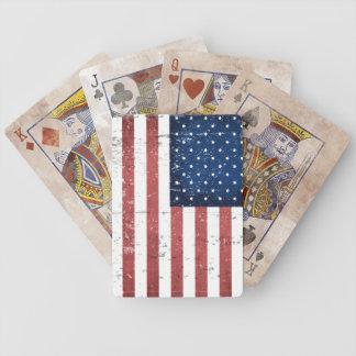 Cubierta apenada de bandera americana de naipes baraja de cartas