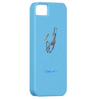 Cubierta azul del iPhone 5 de Devin con el caballo iPhone 5 Fundas