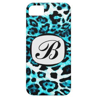 Cubierta azul del iPhone de la inicial del leopard iPhone 5 Cárcasas