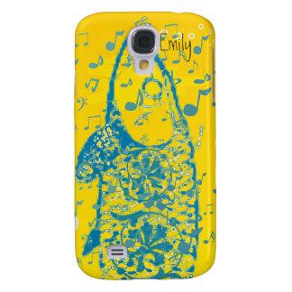 Cubierta azul del iPhone de las notas musicales de