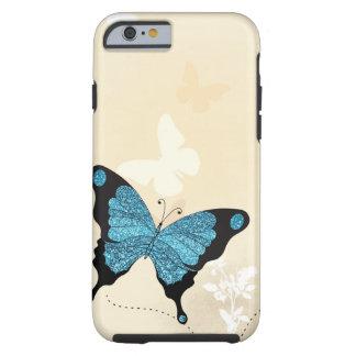 Cubierta azul hermosa del iPhone de la mariposa Funda Para iPhone 6 Tough