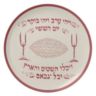 Cubierta bordada vintage del jalá platos
