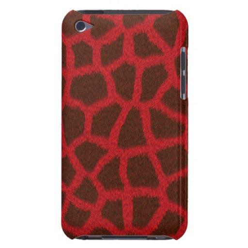 Cubierta/caja rojas del estampado de animales de l Case-Mate iPod touch protector